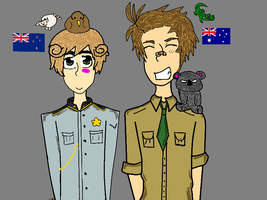 Australia and New Zealand comission by HetaliaTwins
