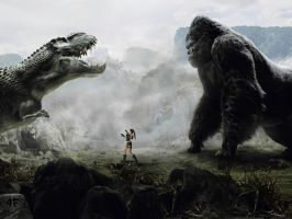Lara, King Kong and the V-Rex - 2009 by AlexFly