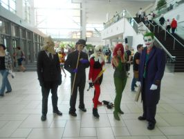Scarecrow, Riddler, Harley, Ivy, and Joker by Etrigan423
