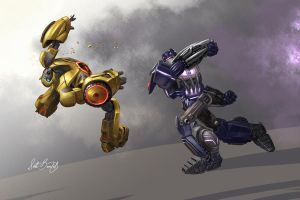 Soundwave vs Bumblebee by scottbenefiel