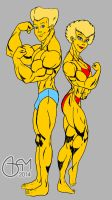 Bart and Lisa Bodybuilders Flat Colour by AlphaCentaurian