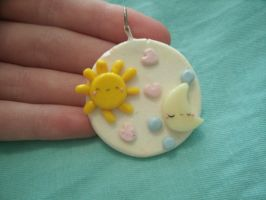 Kawaii Sun and Moon Pendant by Chubbli