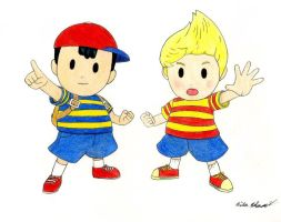Ness And Lucas Drawing by MrPenguin91809