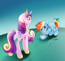Commission - Rainbow Dash and Cadence by minty-red