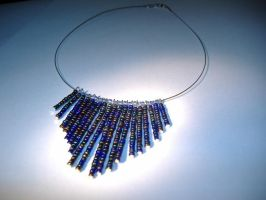Blue fringe necklace by 1HotReel