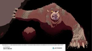 Drawtober day 25 - Infected Cave Bear by EzJedi