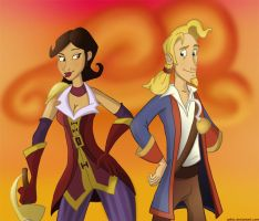 Guybrush and Morgan by Calick