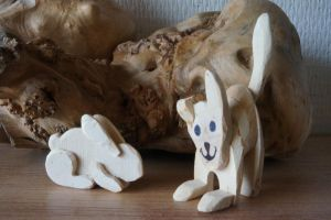 wooden dog and rabbit by AutumnCapricorn