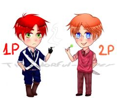 Chibi Scotland 1P and 2P (remake) by TheColorful-Paper