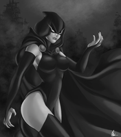 Teen Titans - Raven(Grayscale) by MissAudi