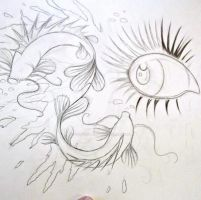 Eye and Koi fish drawing (WIP!) by Dustywallpaper