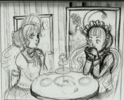 tea party sketch by X3carlyX3