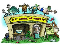 If it swims, we serve it by sethness