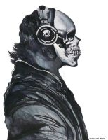 WatercolorSkull and Headphones by DecemberBellz