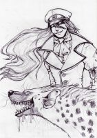 Garel and his hyena -sketch by LadyFiszi