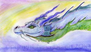 Water Dragon Watercolor by The-GoblinQueen