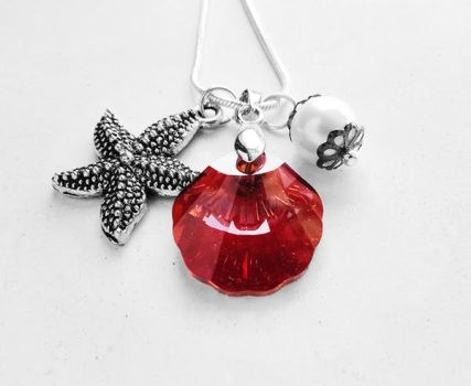 Swarovski Red Magma Seashell Crystal Necklace by crystaland