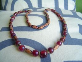 red glass beads necklace by were-were-wolfy