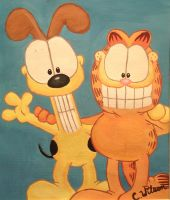 Garfield and Odie by raedreamergirl