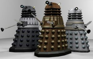 Blender Daleks WIP 5: Let's do the Time War again by Librarian-bot