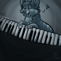 dog playing the piano by BeautySnake
