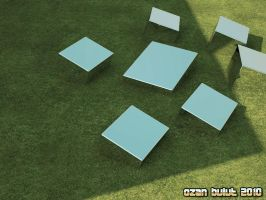 Cubes over Green Grass by ozanbdesign