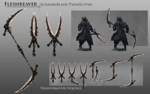 Bloodborne Fanart - Fleshreaver weapon idea by daemonstar