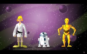 Luke R2D2 C3PO by themico
