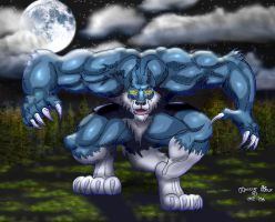 Muscle Wolf looks hungry by Blathering