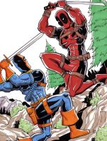 Deadpool vs Deathstroke by calslayton