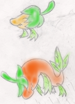 Fakemon Sketch - Spicer and Fuegro by PokeboyD