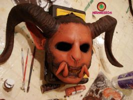 Demon head paint progress by missmonster
