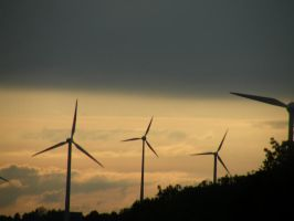 Windmills and sunset by keziakos