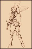 Warrior Maiden Sketch by tansy9