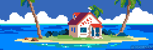 218/365 pixel art : Kame House Dragon Ball by igorsandman