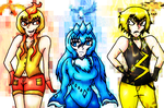 Legendary Bird Gijinkas by blazing-ninetales