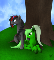 Lucky Clover and Midshadow :REDRAW: by VioletDragonian