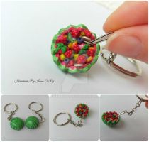 Watermelon fruit salad keychain by SweetIva