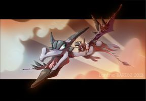 Mega Aerodactyl and Tyrunt by Dragibuz