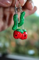 Apple and Worm Earrings by Pinkatron2000