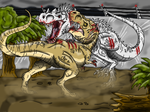 Jurassic World: T-rex vs I-rex by Alien-Psychopath