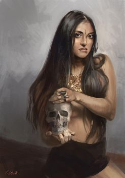Female Portrait and Skull by Art--Tool
