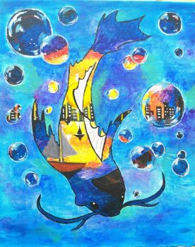 Koi Fish Painting by Lily-L