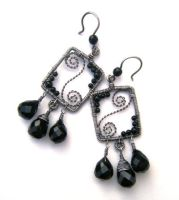 square onyx earrings by annie-jewelry