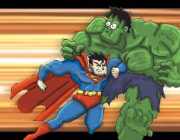 Superman vs Hulk by PhillieCheesie