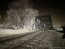 Railroad Crossing in Infrared by KBeezie