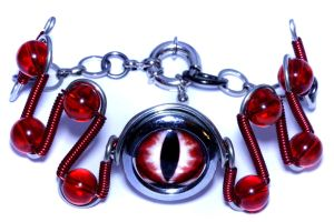 Cybersteam Jewelry - Red Evil Dragon Eye Bracelet by CatherinetteRings
