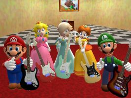 mario and his friends approve fender guitars by supergmodbros