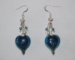 Aqua Heart Glass Earrings by SilverRoseJewelry
