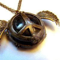 Winged Peace Steampunk Pendant by SteamSociety